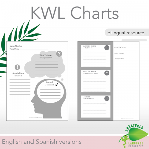 Bilingual KWL Charts English and Spanish