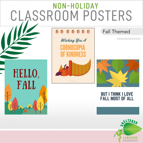 7 Non Holiday Classroom Posters Fall Themed