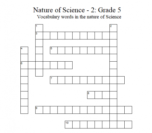 Science Crossword Puzzle – 5th Grade: Nature of Science  - 2