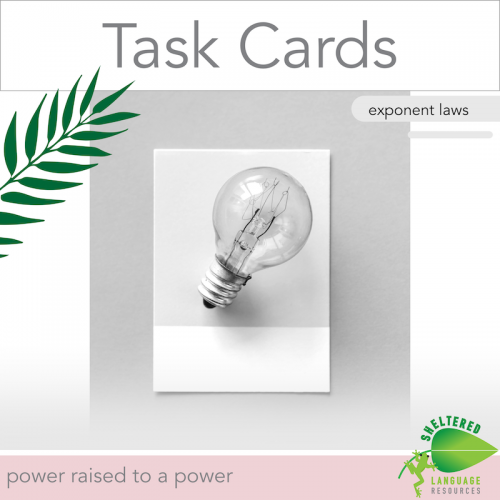 Exponent Laws Power To A Power Task Cards