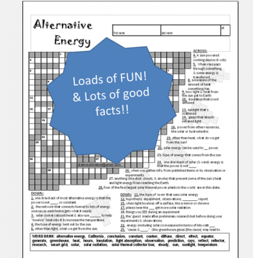 Alternative Energy Crossword Puzzle - STEM