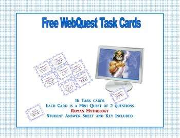 Roman Mythology -Free Webquest Task Cards