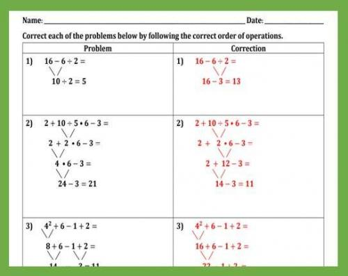 Correcting Common Mistakes in Order of Operations Worlsheet II