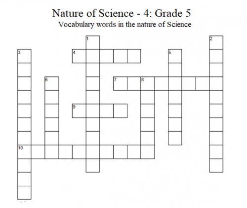Science Crossword Puzzle – 5th Grade: Nature of Science - 4