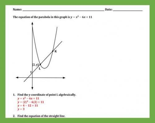 Solving a System of Quadratic and Linear Equations Worksheet