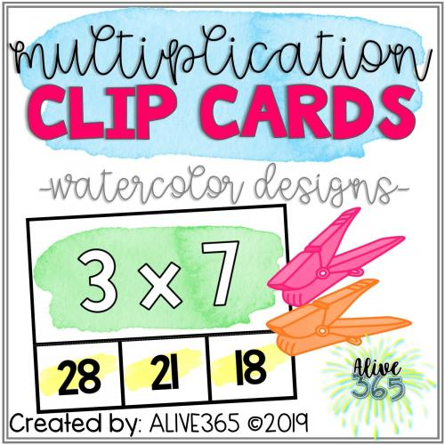 Multiplication Facts Fluency: Clip Cards {Watercolor Design}