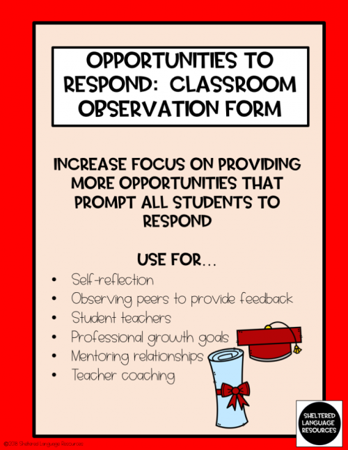 Opportunities to Respond (OTR) Observation Form