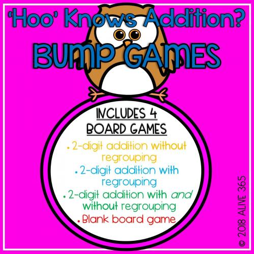 2-Digit Addition BUMP GAMES - with regrouping and without regrouping