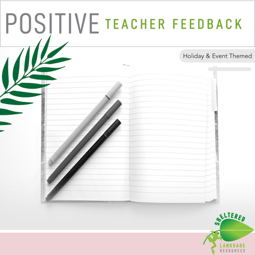 Positive Teacher Feedback Observation Forms: Holiday Themed