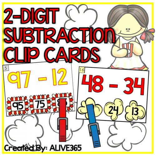 2-Digit Subtraction CLIP CARDS (without regrouping) | Popcorn Theme!