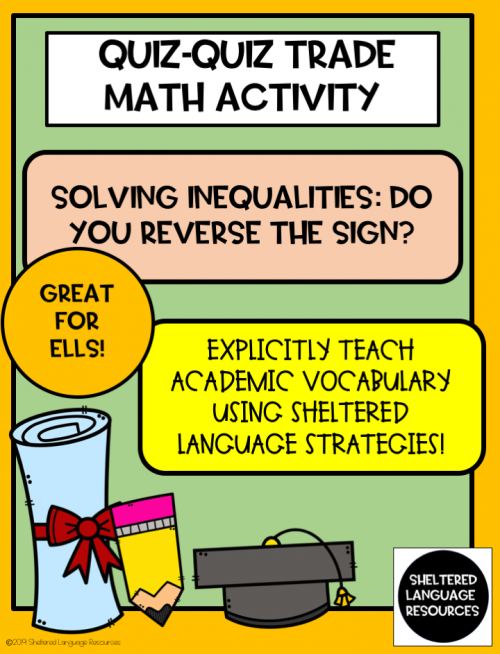 ELL/ESL Quiz-Quiz-Trade: Solving Inequalities-Do You Reverse the Sign?