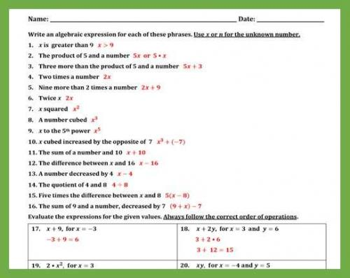 Writing and Evaluating Expressions Worksheet II