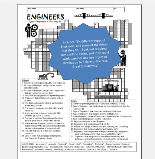 ENGINEERS & What they Do - Crossword Puzzle - STEM