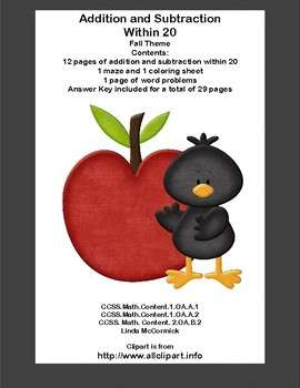 Addition & Subtraction Within 20 Worksheets-Fun Fall Theme