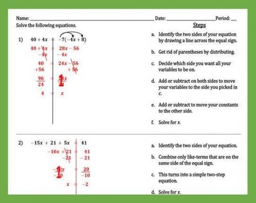 Solving Multi-Step Equations Worksheet - - Peertopia