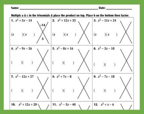 Factoring Trinomials with Leading Coefficients of 1 Worksheet