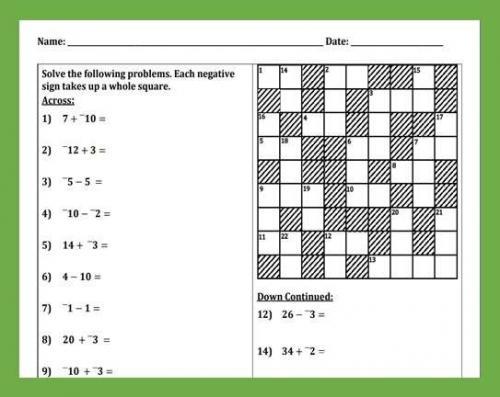 Adding & Subtracting Integers Cross-Number - Peertopia