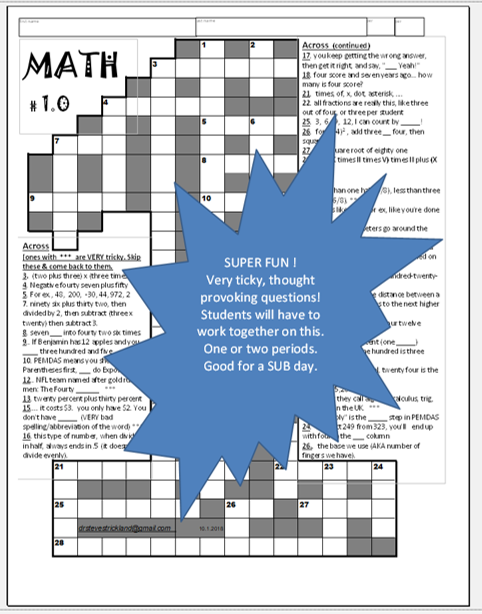 Fun MATH Crossword Puzzle TRICKY!  STEM