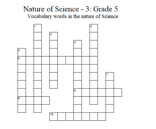 Science Crossword Puzzle – 5th Grade: Nature of Science - 3