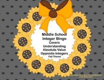 Integer Bingo-Middle School-Fall Theme