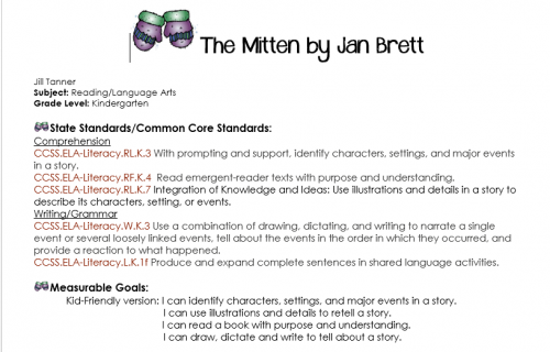 The Mitten Lesson Plan - Common Core Kindergarten Standards