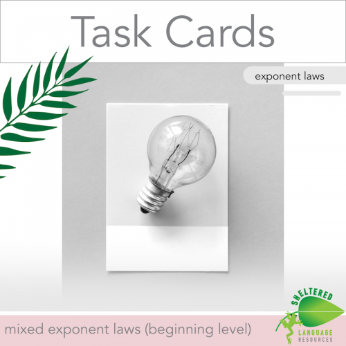 Mixed Exponent Laws Task Cards Beginner Level