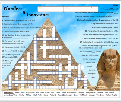 Wonders & Innovators Crossword Puzzle - STEM