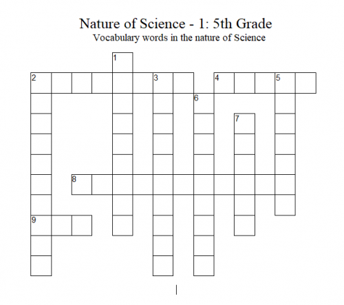 Science Crossword Puzzle – 5th Grade: Nature of Science - 1