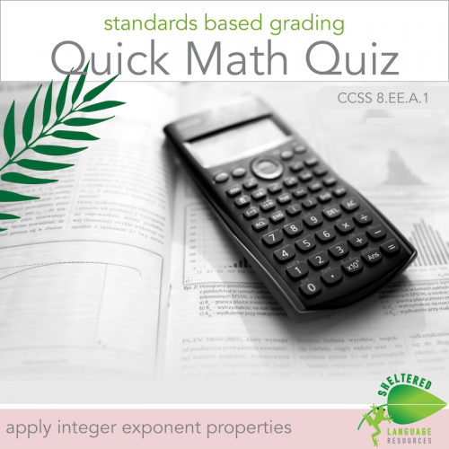 Standards Based Grading Math Quizzes Apply Integer Exponent Properties Set 1