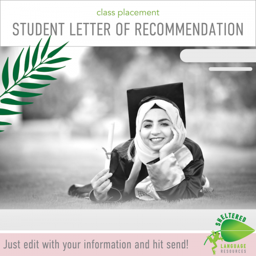 Editable Student Course Placement Letter of Recommendation